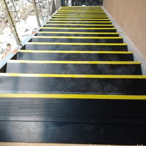 Rubber Stair Treads black with yellow edge